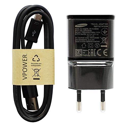 Cargador rápido Original de Samsung EP-TA20EBE, Color Negro, Incluye Cable de Carga Micro USB VPOWER para Galaxy S5 Mini S6 S7 Edge A3 A5 A7 2015 2016