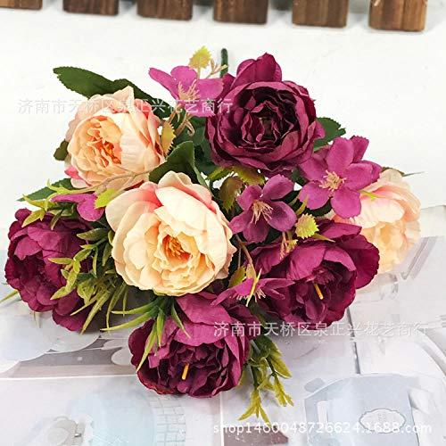WEFLOWERSPequeña Flor Europea_7 Pintura al óleo peonía Flor Artificial Continental pequeña mayorista casa Boda @ púrpura