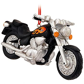Midwest CBK Black Motorcycle with Flames Resin Hanging Christmas Ornament