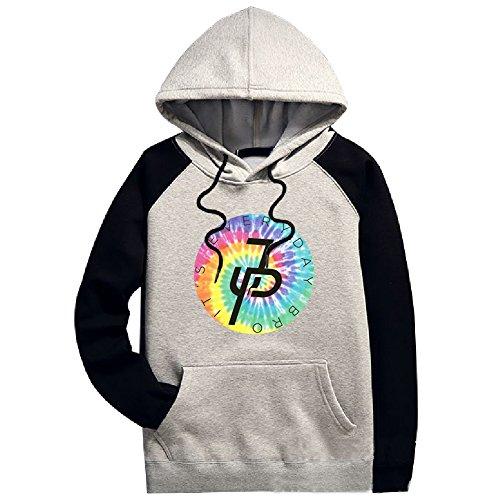 Aliensee Unisex Jake Paul Rainbow Logo Raglan Pocket Hoodie Sweatshirt XS Black