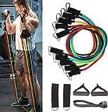 150lbs Set de Bandas de Resistencia 11 Piezas con 5 Bandas Elásticas para Ejercicios Físicos Fitness Entrenamiento Crossfit, Juego de Cuerdas Gomas Elásticas para Gym/Home, Incluye Bolsa de Transporte