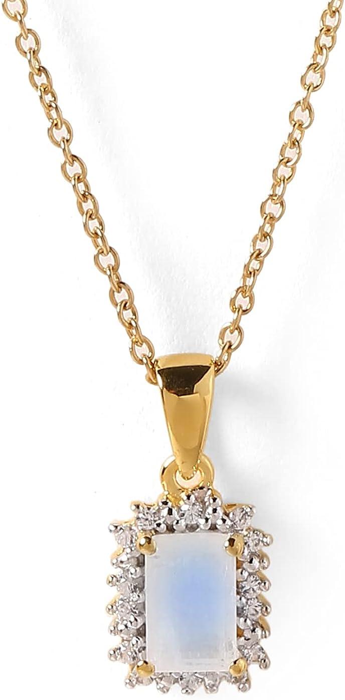 YoTreasure Emerald Glass Filled Ruby Amethyst Moonstone Garnet Blue Topaz Solid 10K Yellow Gold Pendant Genuine Gemstone Jewelry for Women or Girls