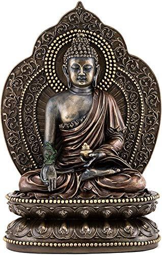 GFDJ Top Collection Medicine Buddha Statue - Buddha of Healing Sculpture in Premium Cold Cast Bronze- 10.5-Inch Collectible Tibetan Figurine