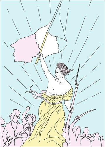 Poster 30 x 40 cm: Die Freiheit führt das Volk von Robert Farkas - hochwertiger Kunstdruck, neues Kunstposter