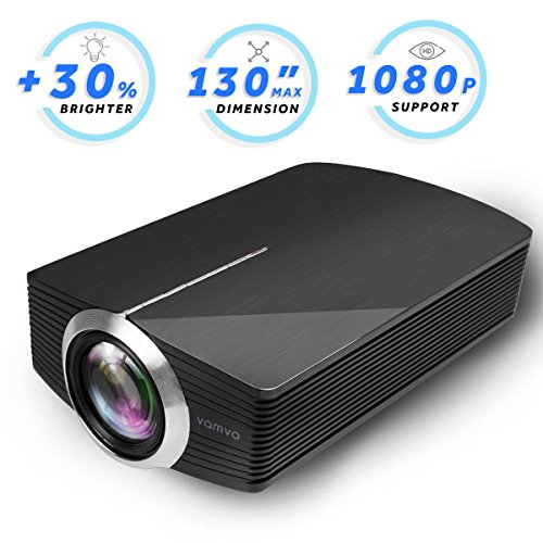 Led Projector, Vamvo Home Theater Movie Projector LED Source Video Projector Supported 1080P Portable Projector Compatible with Fire TV Stick,HDMI/VGA/USB/SD 2018 New Version (Black)