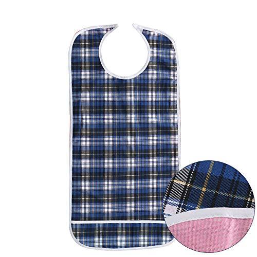 DOCA Erwachsenen Lätzchen für Senioren doppelte Schicht wasserdicht mit Displayschutzfolie wiederverwendbar Kleidungsschutz Lätzchen Schürze für ältere Männer Frauen(Blau)