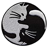 Écusson Chat Yin Yang Patch Animal Thermocollant 7,5cm Cameleon-Shop