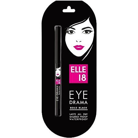 Elle 18 Eye Drama Kajal, Super Black- Smudge-Proof, Waterproof, 0.35 g