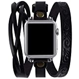 Vikoros Leather Double Wrap Band Compatible for Apple Watch 38mm 40mm Iwatch Series 6/5/4/3 Womens, Cool Woven Leather Bracelet Design Watch Bands Strap Compatible with Apple Watch SE, Black