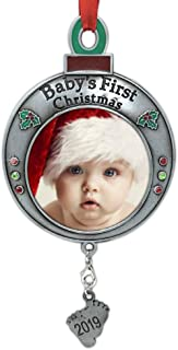 BANBERRY DESIGNS Baby's First Christmas Keepsake- 2019 Dated Ornament for Newborn- Red and Green Picture Frame Ornament Shaped Like an Ornament Bulb -Baby Ornaments