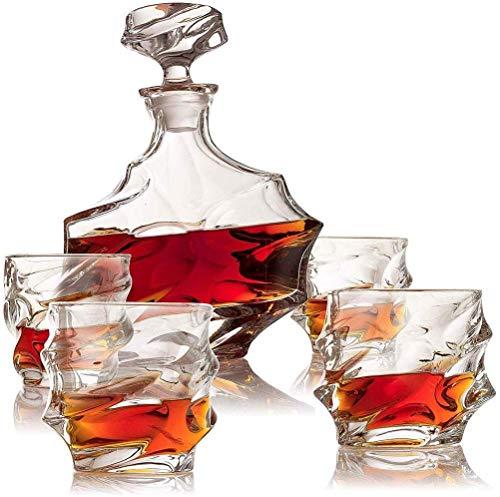 Kristalglas Whiskey Decanter Set, 100% Transparant Loodvrij Kristalglas Rode Wijn Decanter Graveren Textuur met 6 Wijnglazen voor Vriend's Beste Gift