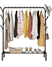 KONFULON cloth rack cloth stand Clothes Hanger Stand Clothes Dryer Rail with 8pcs Branch Hook Bottom Storage 110cm Length Large Space for Shoes Clothes Jacket Umbrella Hats Scarf Handbags