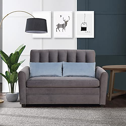 SURFLINE Pull Out Couch Sleeper Sofa Bed Loveseat Sleeper with Memory Foam Mattress Twin, Velvet Loveseat Sofa Bed with Storage Pocket and 2 Throw Pillows, Small Couch for Small Spaces Grey