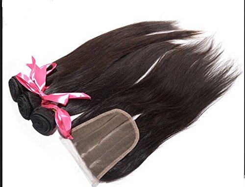 "2018 Popular DaJun Hair 8A 3 Way Lace Closure With Bundles Straight Malaysian Virgin Hair Bundle Deals 3Bundles And Closure Natural Color 16""closure+26""26""26""weft"