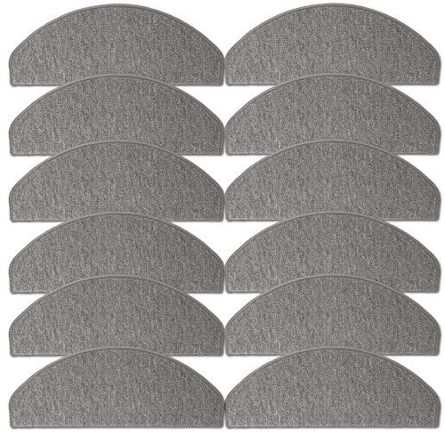JEMIDI Stufenmatten Treppenmatten 64cm x 24cm mit geketteltem Rand und starker Befestigung (Hellgrau, 12)