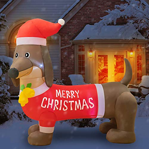 Rocinha 5ft Christmas Inflatables Wiener Dog, Blow Up Christmas Decorations Dachshund Christmas Outdoor Decorations for Garden, Lawn, Indoor, Party, Yard Christmas Decorations