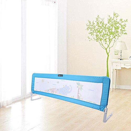 Barriera per letto da bambini,Barriera di sicurezza/protezione removibile per letto bambino,portatile letto protezione pieghevole universale (blu, 180 * 64 * 34.5cm)