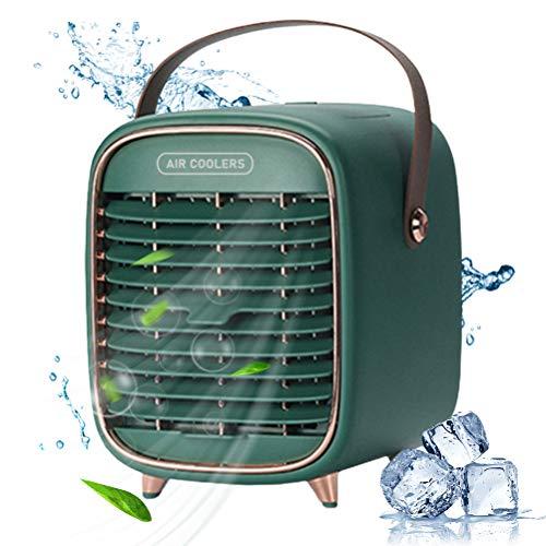 FreshWater Ventilador portátil de aire acondicionado USB recargable Mini ventilador de escritorio Ventilador de 3 velocidades humidificador para la habitación oficina y al aire libre