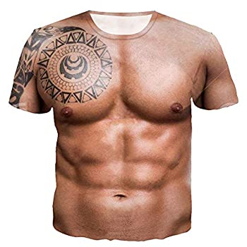 Men T Shirts 2019 New Short Sleeve Humor Funny Tees 3D Printed Muscle Tatoo T Shirt by Lowprofile Brown