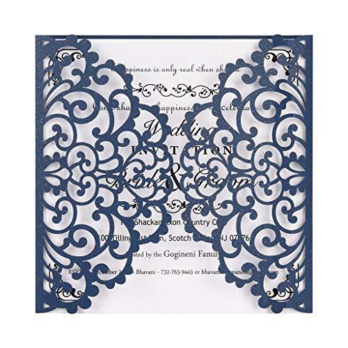 Detrade 10Pcs European Openwork Hochzeitseinladung Kreative Geburtstagskarte Delicate Einladungskarte (Blue)