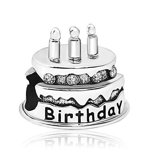 Abalorio JMQJewelry para pulsera tarta de cumpleaños (de enero a diciembre) con velas de vidrio