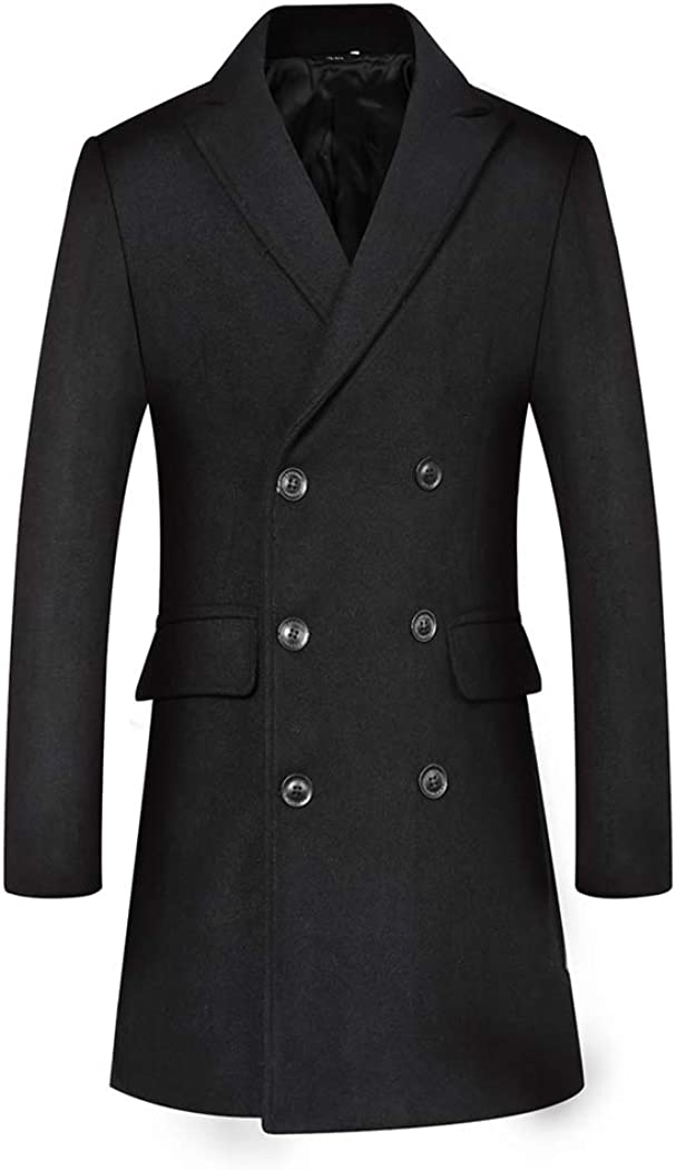 Michealboy Men's Wool Blend Pea Coat Double Breasted Flap Pockets Notched Lapel Black Grey