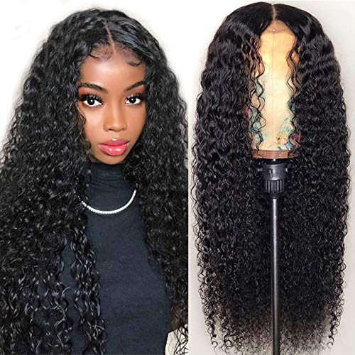 Iris Queen 4x4 Lace Front Wigs Human Hair Pre Plucked Hairline Brazilian Curly Human Hair Wigs for Black Women 9A 150% Density Lace Closure Wig with Baby Hair (16 inch)