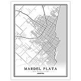 SKLHSIL Impresión De Lienzo, Argentina Mardel Plata Mapa Ciudad Simple Negro Blanco Wall Arte Moderno Póster Imagen Mural Pintura Oficina Sala Estar Hogar Dormitorio Espacio Decoración 50X70
