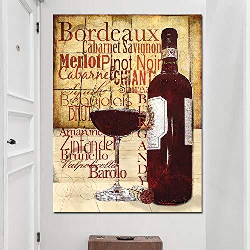 ZLARGEW Copas de Vino Tinto Botella Cita Póster Impresión Cocina Moderna Impresión Pintura al óleo sobre Lienzo Arte de la Pared Pintura Bar Comedor Decoración / 50x70cm Sin Marco