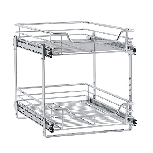 Household Essentials C21521-1 Glidez Dual 2-Tier Sliding Cabinet Organizer, 14.5' Wide, Chrome