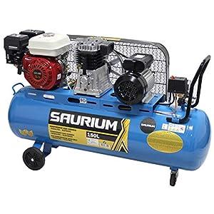 51 GSIc9IdL. SS300  - SAURIUM - Compresor de Aire - Con Correas - Gasolina + Eléctrico - 150L 5.5/3HP - Ideal para trabajos en lo exterior