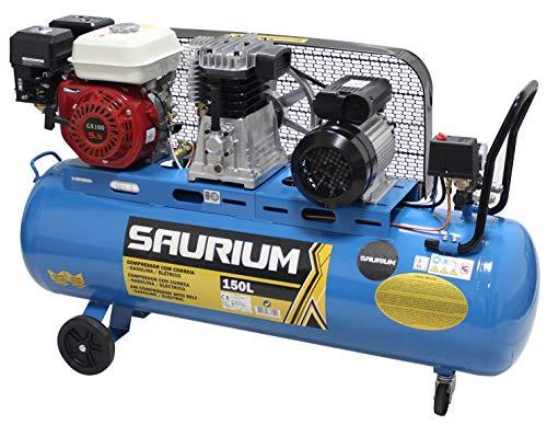 SAURIUM - Compresor de Aire - Con Correas - Gasolina + Eléctrico - 150L 5.5/3HP  - Ideal para trabajos en lo exterior