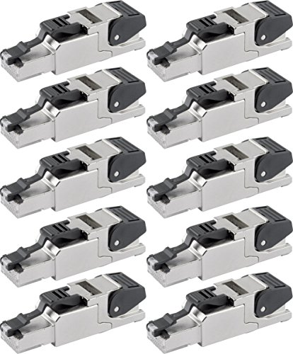 Telegärtner J00026A2000 feldkonfektionierbarer RJ45-Stecker für AWG24/1-AWG22/1, AWG27/7-AWG22/7 (10 Sätze)