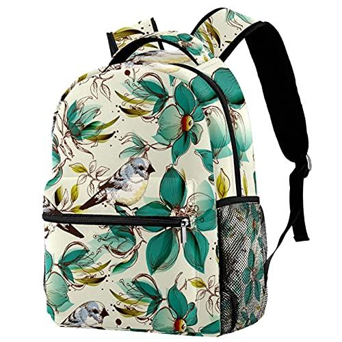 Mochila escolar para los muchachos de las muchachas adolescentes, bolso escolar durable del patrón de la flor de las aves estéticos para el estudiante medio