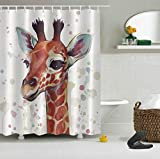 Giraffe Duschvorhang Digitaldruck wasserdicht & schimmelresistent 180CM * 180CM (12 Haken)