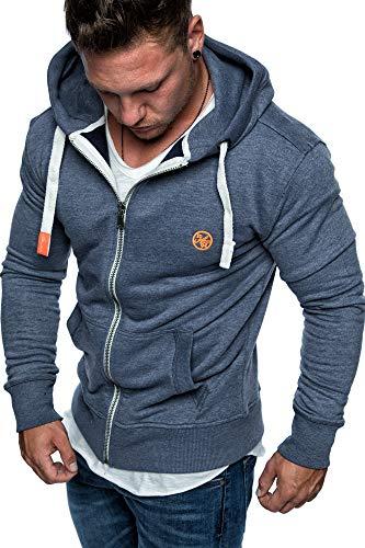 Amaci&Sons Herren Zipper Kapuzenpullover Sweatjacke Pullover Hoodie Sweatshirt 1-04029 Blau S