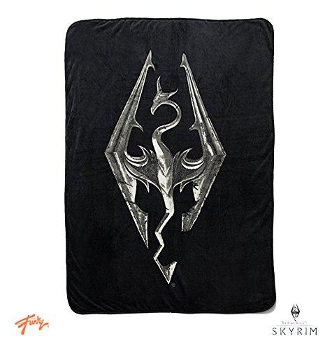 Skyrim Collectibles | Skyrim Dragon Emblem Fleece Throw Blanket | 45 x 60 Inches