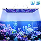 Relassy Aquarium Light, 300W Full Spectrum Led Coral Reef Light for Saltwater Freshwater Fish Tank with 2 Dimmables White & Blue Light