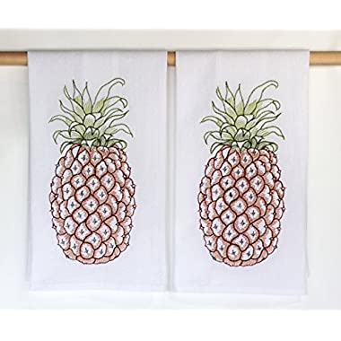 Pineapple Embroidered Flour Sack Kitchen Towels by C & F - Set of 2