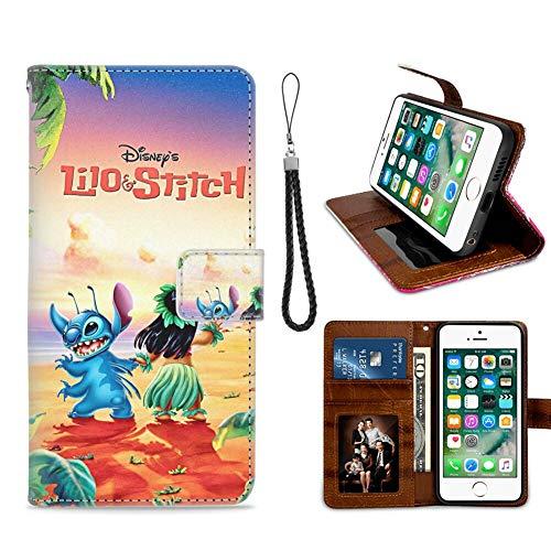 DISNEY COLLECTION Funda tipo cartera para iPhone 7/8/SE2 Disney Lilo Stitch 2002 diseño patrón titular de tarjeta de crédito cierre magnético Flip Cover función atril Caso ID