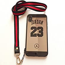 iPhone X/10 Jordan 23 Case,Reflective Mirror Case Jumpman Cover with Soft Neck Lanyard.Shockproof Resistant Case for iPhone X/10 Case. (Black Case)