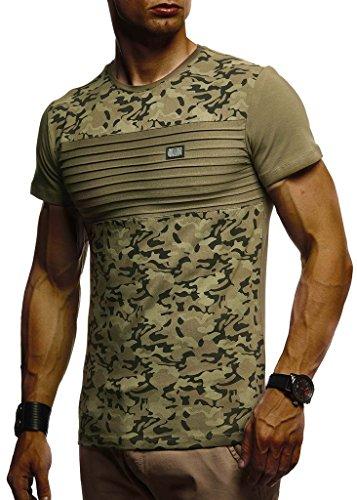 Leif Nelson Herren Sommer T-Shirt Rundhals-Ausschnitt Slim Fit Baumwolle-Anteil Moderner Männer T-Shirt Crew Neck Hoodie-Sweatshirt Kurzarm lang LN405 Khaki XX-Large