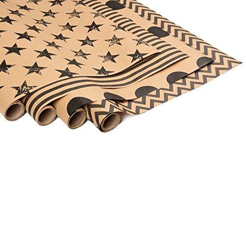 ewtshop® 4 x Geschenkpapierrollen aus Kraftpapier bedruckt, jeweils 70 x 200 cm, 4 Designs, edles Geschenkpapier