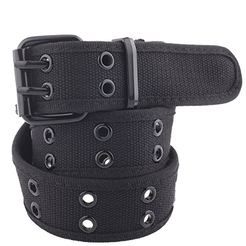 Unisex Two-Hole Canvas Belt - Available in 13 Colors (WB-211, Large, Black)