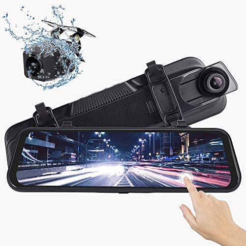 Mirror Dash Cam, Dual 1080P Front and Rear, 10 Inch Touch Screen Front 1080P 170° Full HD Front...