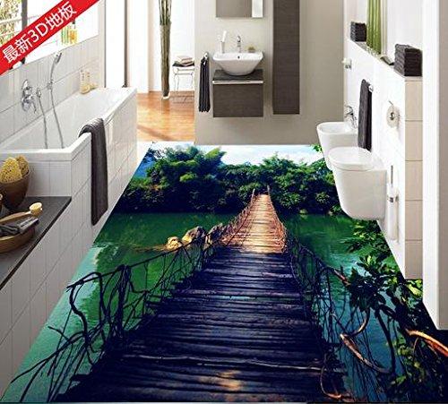 LWCX 3D-Bodenbeläge Anpassen Holz Bambus 3D Stock Badezimmer Esszimmer Tapeten Pvc Wasserdicht Kompaktlader Selbstklebende Tapete 200X140CM