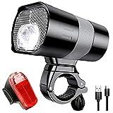 Showlovein Fahrradlicht Set, 3 Licht-modi Fahrradlampe, StVZO zugelassen, USB Aufladbar Frontlicht und Rücklicht Set, Wasserdicht, Gut für Pendeln im Dunkeln