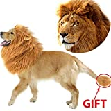 Dog Lion Mane Pet Dog Costume, Pet Wigs for Dogs Fancy Lion Hair, Pet Dog Lion Mane Wig for Parties, Adjustable Pet Lion Mane for Medium to Large Sized Dog with Ears &Tail