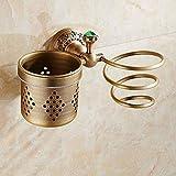 Soporte para secador de pelo de cobre europeo Soporte para secador de pelo de bronce para baño Peine hueco Cepillo de...
