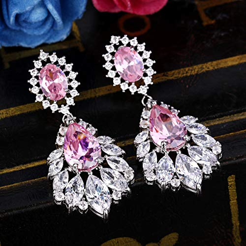 BriLove Women's Wedding Bridal Cubic Zirconia 1920s Peacock Feather Shaped Chandelier Dangle Earrings Pink Tourmaline Color Silver-Tone